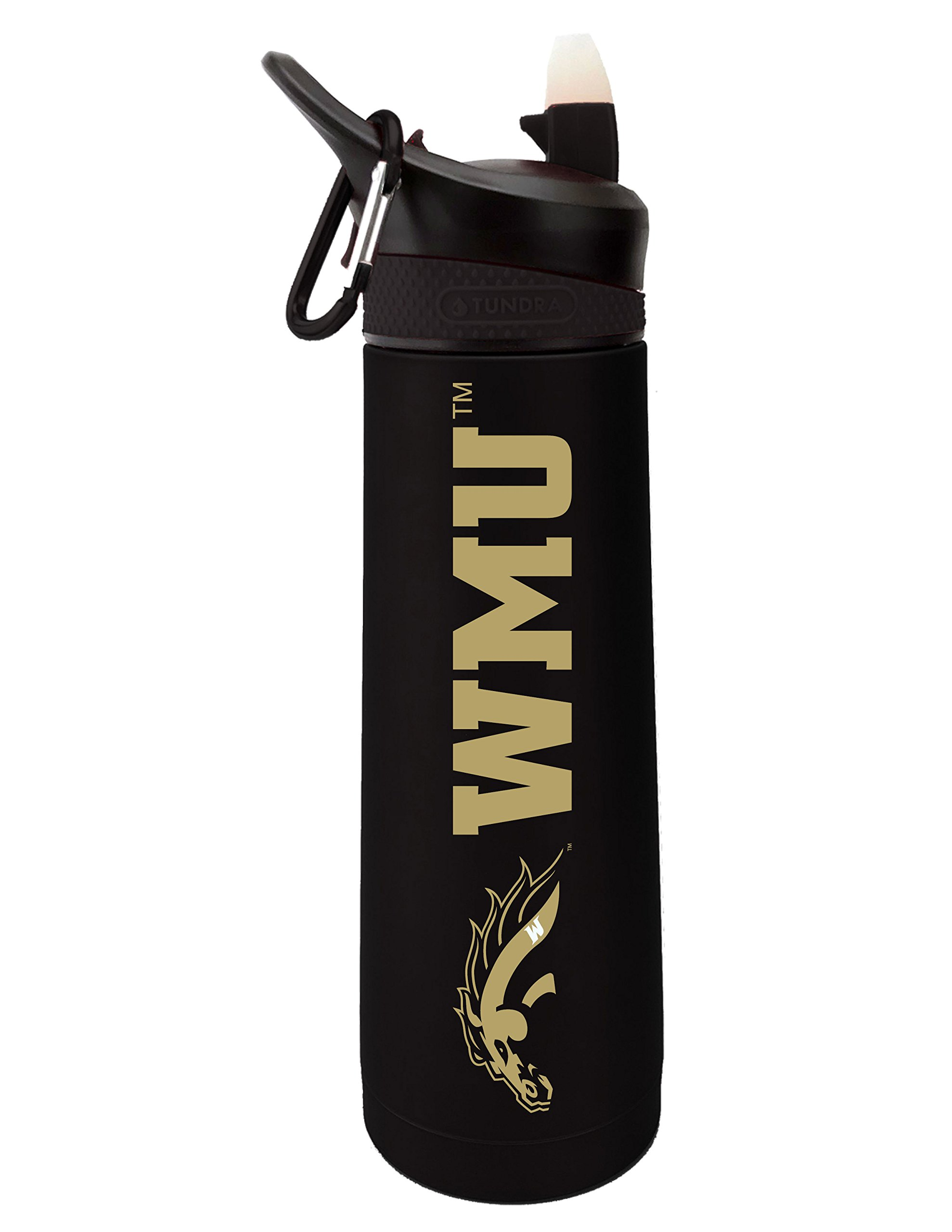 Fanatic Group Western Michigan University Dual Walled Stainless Steel Sports Bottle, Design 2 - Black