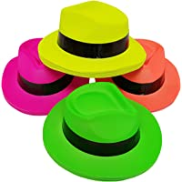 Party Hats, Neon Color Animal Print or Neon Plastic Gangster Fedora or Safari Party Hats for Adults, Teens and Kids, by Playscene Inc