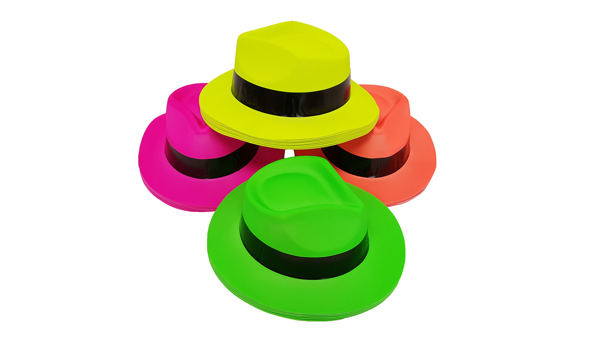 Party Hats, Neon Color Plastic Gangster Fedora Party Hats for Adults, Teens and Kids, by Playscene0153; (48, Neon Gangster Hat) …