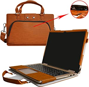 """Yoga 710 15 Case,2 in 1 Accurately Designed Protective PU Leather Cover + Portable Carrying Bag for 15.6"""" Lenovo Yoga 710 15 710-15ikb 710-15isk Series Laptop(Not fit Yoga 720 & Yoga 710 13.3),Brown"""