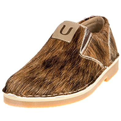 Men's Slip On Loafer Natural Hair-On Cowhide One Of a Kind Leather Shoes