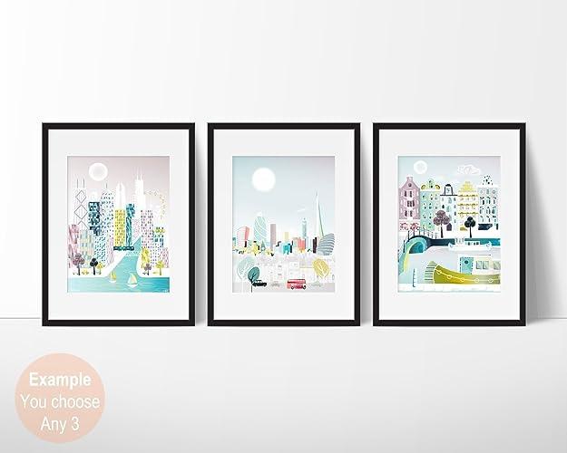 amazon com city skyline wall art prints choose any 3 small 5x7