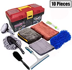 Snow Eagle-L 10Pcs Car Cleaning Tools Kit, Car Wash Tools Kit for Detailing Interiors Premium Microfiber Cleaning Cloth - Car Wash Sponges - Tire Brush - Window Water Blade