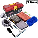 Snow Eagle-L 10Pcs Car Cleaning Tools Kit, Car Wash Tools Kit for Detailing Interiors Premium Microfiber Cleaning Cloth…