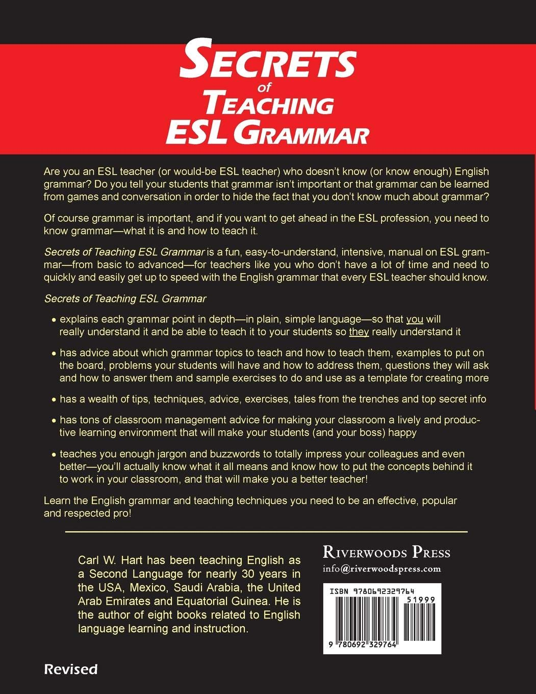Secrets of Teaching ESL Grammar: A Fun, Easy-to-Understand, Fast-Paced,  Intensive, Step-by-Step Manual on How to Teach ESL Grammar: Carl W. Hart:  ...