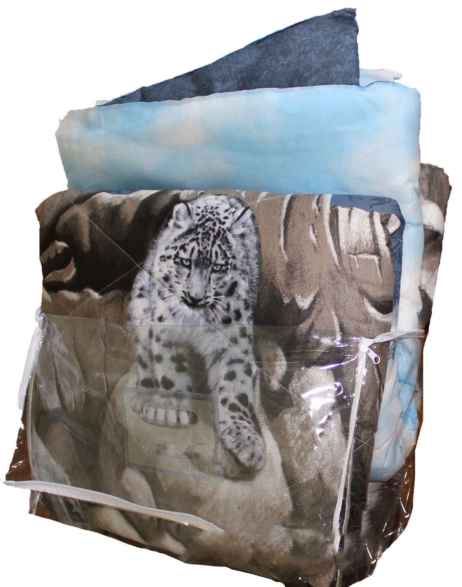 SNOW LEOPARDS Safari CATS Animal Print Comforter Set 66'' x 86'' (6pc TWIN SIZE Bed In A Bag Set)