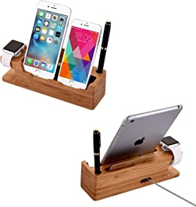 Hooshion Bamboo Wood Charging Station Docking Station with Pen Holder and Business Card for Apple Watch Iwatch iPhone Ipad and Other Smart Phone