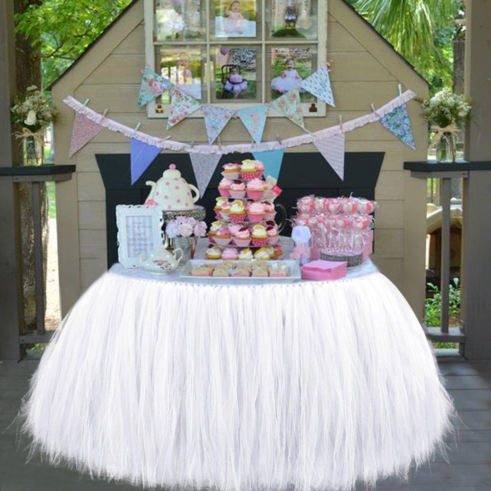 Aytai TUTU Table Skirt Tulle Tableware 100 x 80CM Wonderland Skirting Romantic for Wedding Christmas Party Baby Shower Birthday Cake Table Girl Princess Decoration(1, White) by Aytai (Image #5)