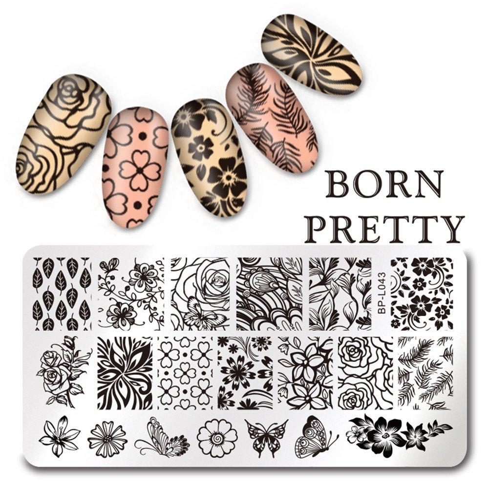 Born Pretty, 1foglio rotondo, 5,5cm di diametro, per timbri Nail Art, lastra con stampi di immagini Ocean Beach 1foglio rotondo 5cm di diametro