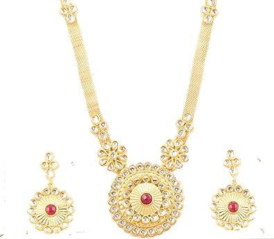 Exclusive Indien Bollywood Pearl Kundan Tour de Cou Mariage Collier Boucle d/'oreille Bijoux
