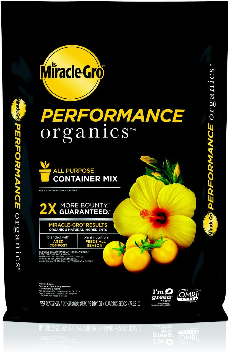 Miracle-Gro Performance Organics All Purpose Container Mix, 16 qt. - Organic, All Natural Plant Soil - Feed for up to 3 Months - All-Purpose Formula for Vegetables, Flowers and Herbs