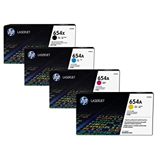 HP 654X (CF330X) High Yield Black and HP 654A (CF331A CF332A CF333A) Standard Yield Cyan Yellow and Magenta Original LaserJet Toner Cartridge Set
