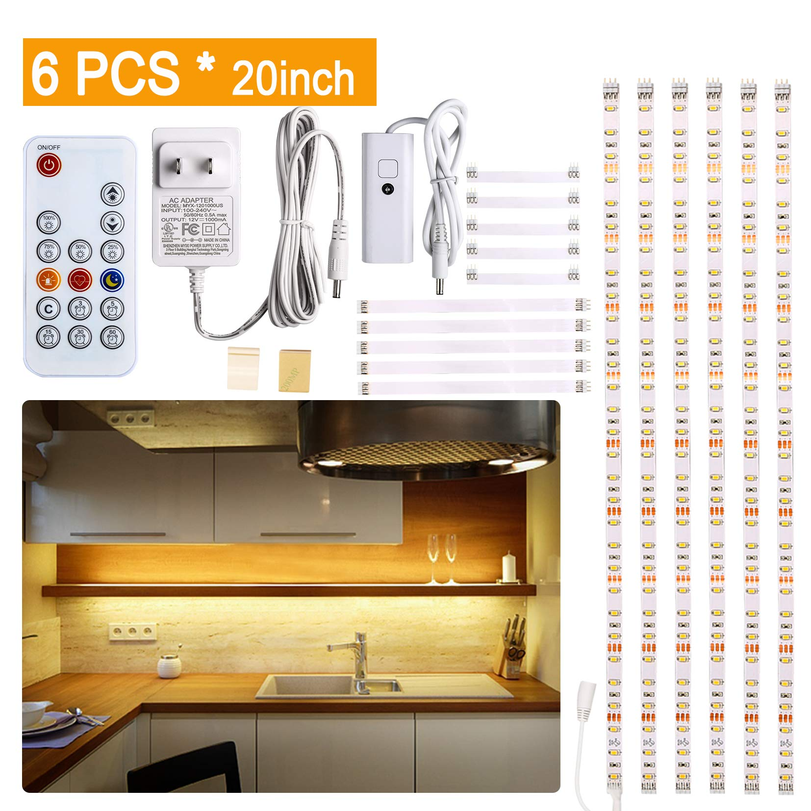 Under Cabinet LED lighting kit, 6 PCS LED Strip lights with Remote Control Dimmer and Adapter, Dimmable for Kitchen Cabinet,Counter,Shelf,TV Back,Showcase 2700K Warm White, Bright, Timing by WOBANE