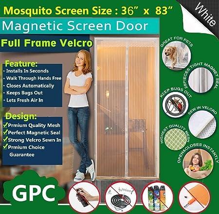Queen Rose Magnetic Fly Screen Door Net   Full Frame Design,Fits Door Up To
