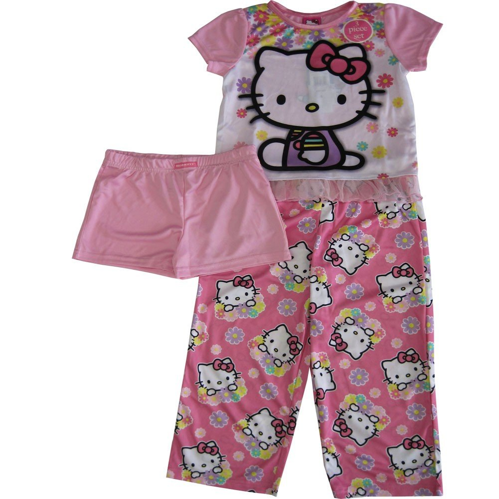 Sanrio Little Girls Pink Hello Kitty Floral Print Shorts 3 Pc Sleepwear Set 4-6
