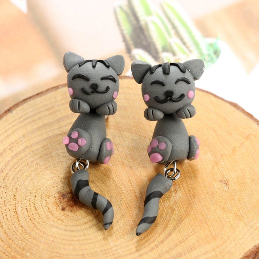 ink2055 Girl Lovely Cartoon Animal Sheep Rabbit Polymer Clay Dangle Earrings for Women Jewelry Accessory Gift