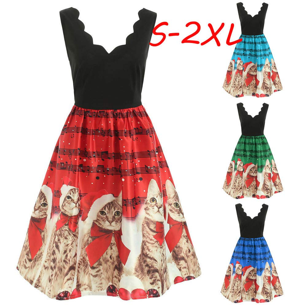1a548c7f52a Owill Women Fashion Sleeveless Christmas Cats Musical Notes Print Vintage Flare  Dress at Amazon Women s Clothing store