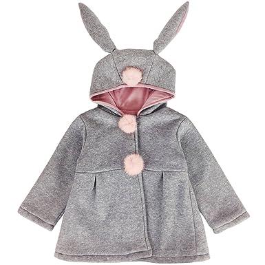 2e71552da Jastore Baby Girls Rabbit Ear Winter Warm Hooded Coat Children Outerwear  Jacket