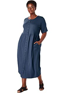 76c936eb61d Only Necessities Women s Woman Within Plus Size Button-Front Essential Dress