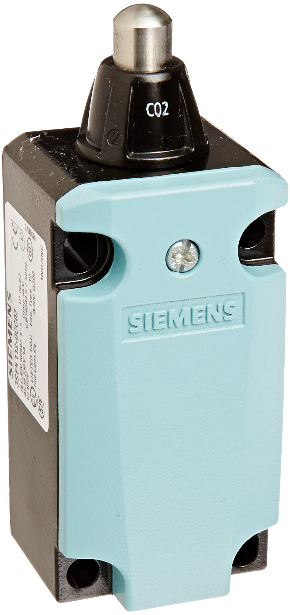 Siemens 3SE5 112-0CC02 International Limit Switch Complete Unit, Round Plunger, 40mm Metal Enclosure, High Grade Steel Plunger, 3mm Overtravel, Snap Action Contacts, 1 NO + 1 NC Contacts