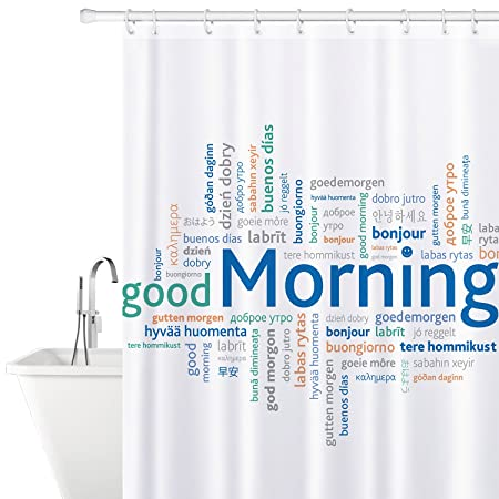 Tatkraft Good Morning Fabric Shower Curtain 180X180cm Waterproof Mildew Free With 12 Rings Amazoncouk Kitchen Home