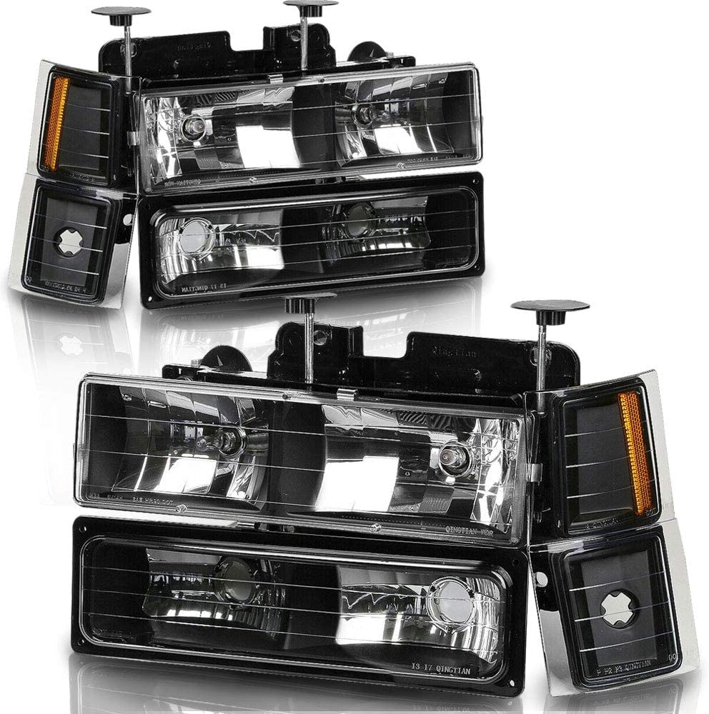 Headlights Assembly Replacement for 1994-1998 Chevy C//K 1500 2500 3500 Tahoe Suburban Silverado Headlamps Replacement Driver and Passenger Side+Bumper /& Corner Lights