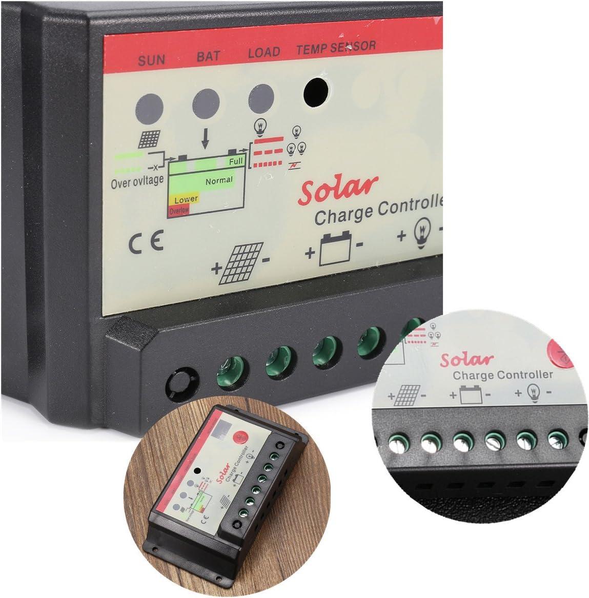 Tutoy 10//20//30A Pannello Solare Regolatore di Carica Controllo Intelligente 12//24V USB St Light /& Timer Charger 30A