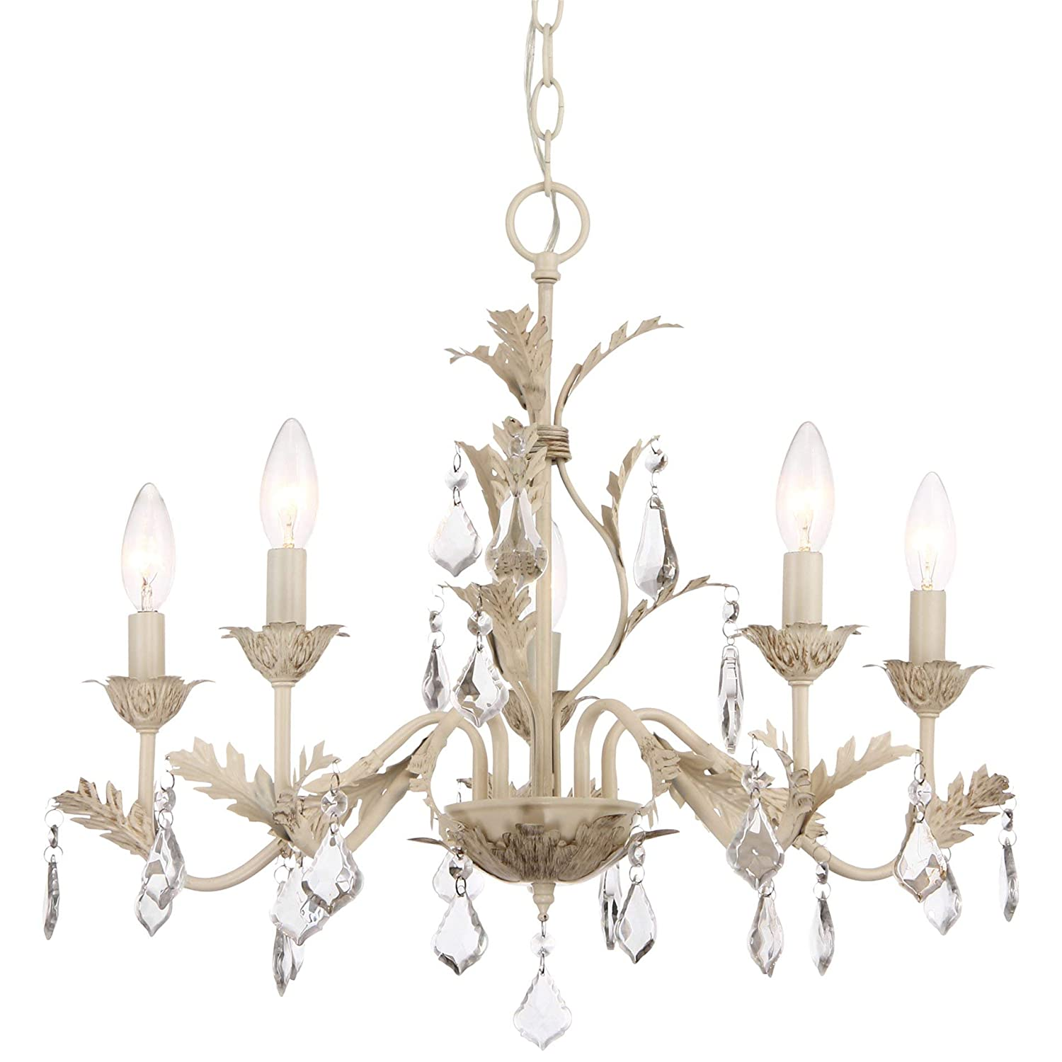 Distressed white French country chandelier.