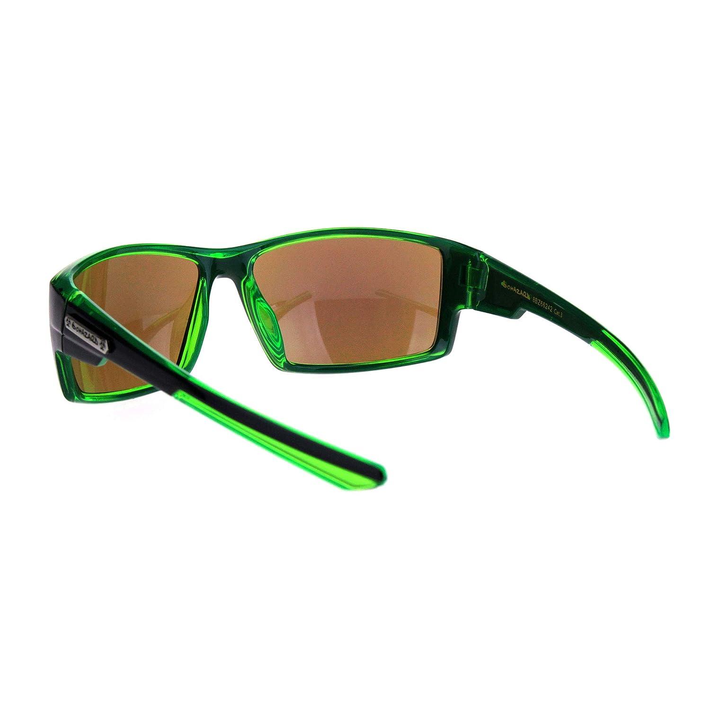 Mens Rectangle Warp Sport Biker Color Mirror Lens Plastic Sunglasses