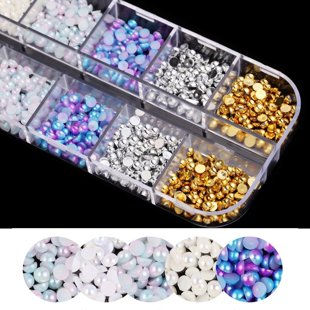 Pearls Nail Art Tips Glitter Acrylic Manicure DIY Nail Stickers Decoration outopen