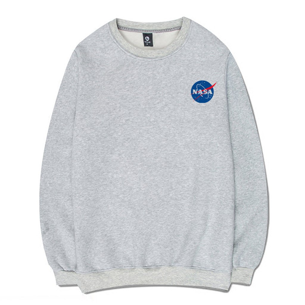 Coli&Tori Fashion NASA Logo Print Hoodie Sweatshirt with Kangaroo Pocket Small  1_gray