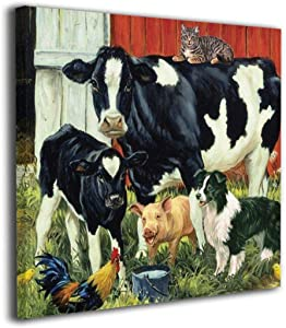"""Harperson Canvas Prints Artwork Country Living Farm Animals Cow Pig Barn Rooster Dog Cat Calf Art Farmhouse Pictures Wall Decoration for Bathroom Living Room Bedroom Wall Decor Prints Art 20""""x20"""""""