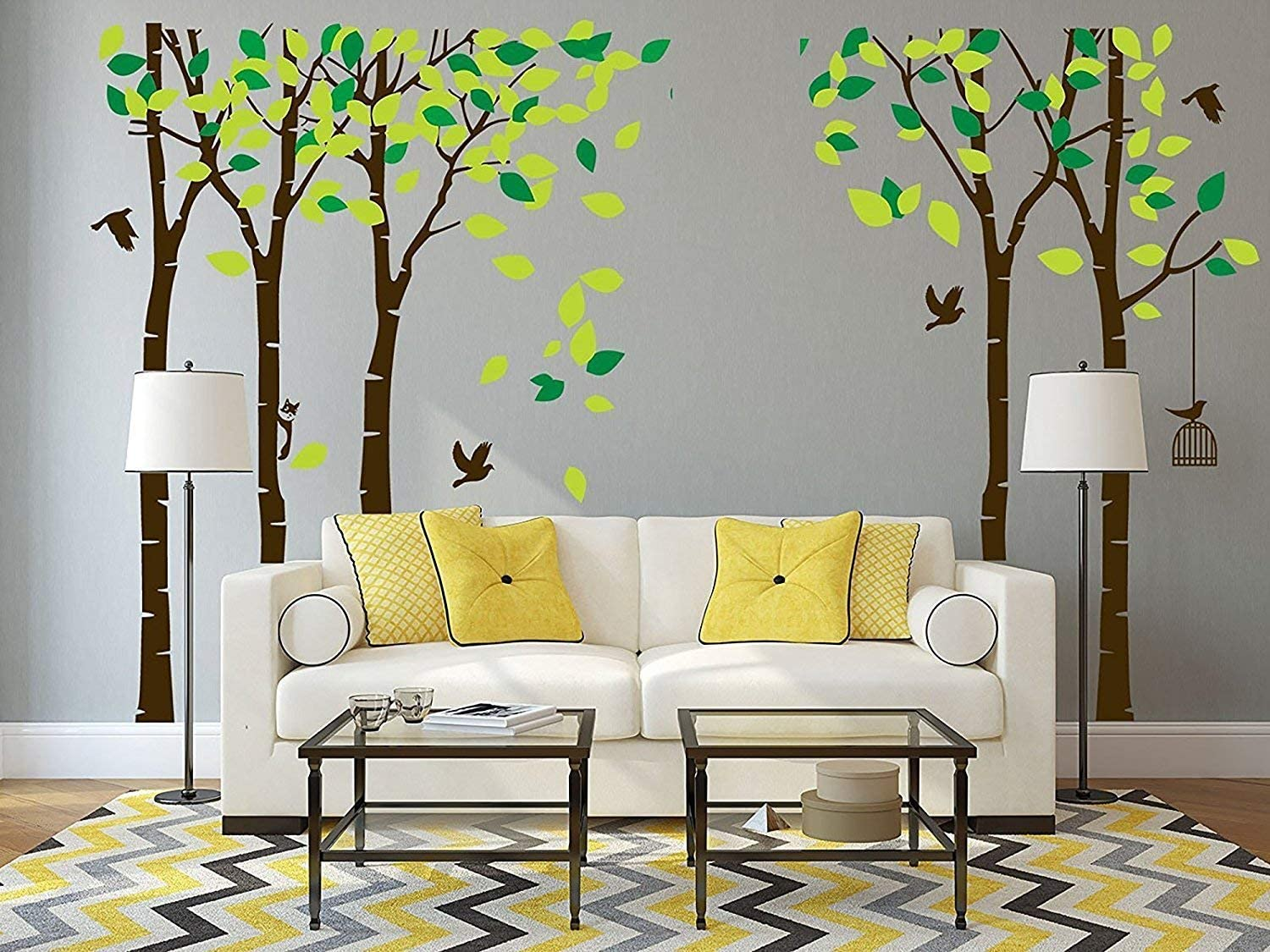 ANBER Giant Jungle Tree Wall Decal Removable Vinyl Mural Art Wall Stickers for Kids Nursery Bedroom Living Room