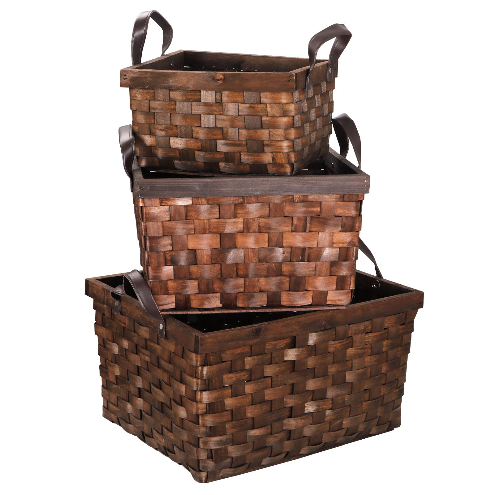 F2C Set of 3 Wooden Wicker Rattan Woven Storage Box Basket Container Tote Organizer Bin Laundry Hamper W/Leather Handles Portable Toy Chest Storage Baskets Nursery Bins Home Decor
