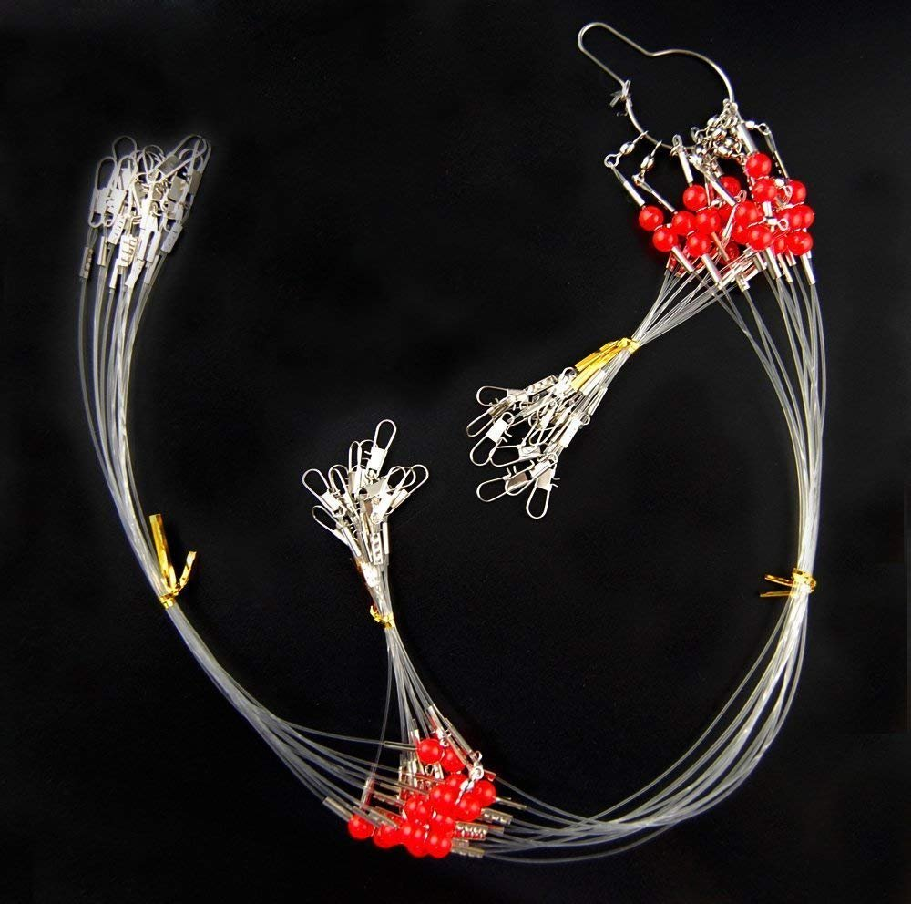 12pcs/lot Stainless Steel Wire Fishing Leaders with Swivels Snaps Beads High-strength Fishing Wire Rigs Fishing Trace Lures Steel Wire Leader Spinner Fishing Line Tackle JSHANMEI