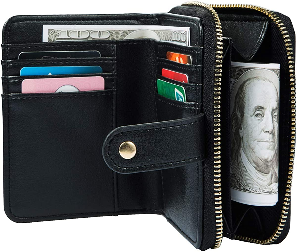 Heaye Small Wallet for Women Card Holder Coin Pocket with Wrist Strap 6 Card Slots