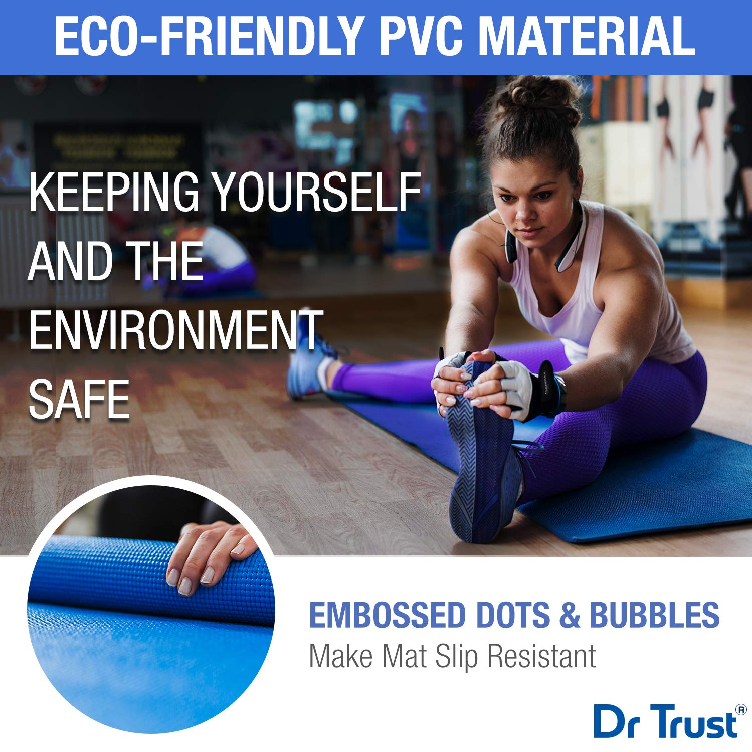 Dr Trust PVC Yoga Mat with Cover Bag