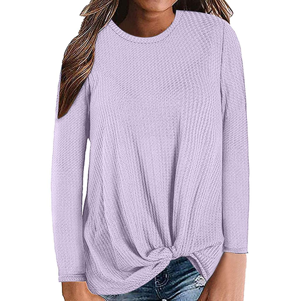 Kauneus  Women's Autumn Winter Solid Waffle Knit Pullover Tops Long Sleeve Crew Neck Tie Front Knot Tunics Blouse Purple by Kauneus Women Clothing