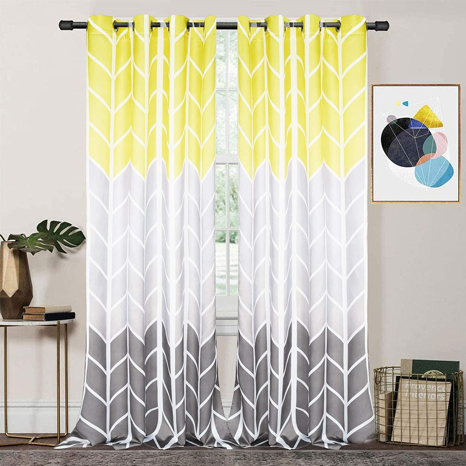 ASPMIZ Grey Yellow Color Block Window Curtains, Gray Gradient Curtain Panels, Geometric Chevron Room Darkening Curtain Drapes with Grommets for Bedroom Living Room, Set of 2 Panels, 52 x 84 Inch