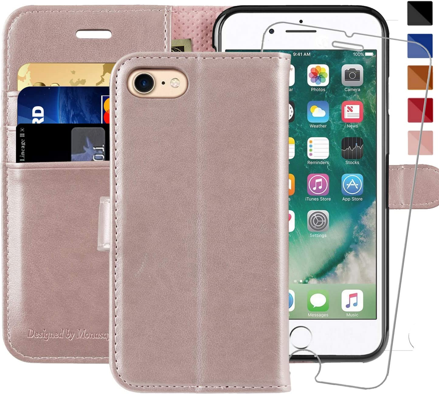 iPhone 7 Wallet Case/iPhone 8 Wallet Case,4.7-inch,MONASAY [Glass Screen Protector Included] Flip Folio Leather Cell Phone Cover with Credit Card Holder for Apple iPhone 7/8