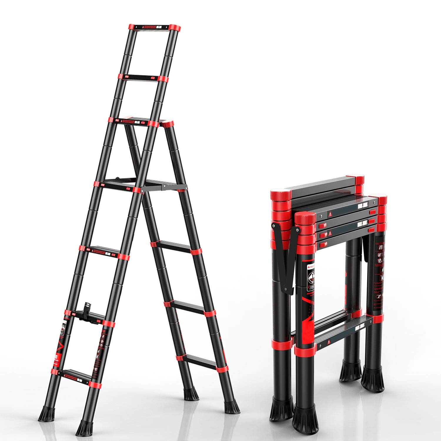 charaHOME Telescoping Ladder A-Frame Aluminum Extension Ladder Lightweight Portable Multi-Purpose Folding Ladder, 330 Pound Load Capacity