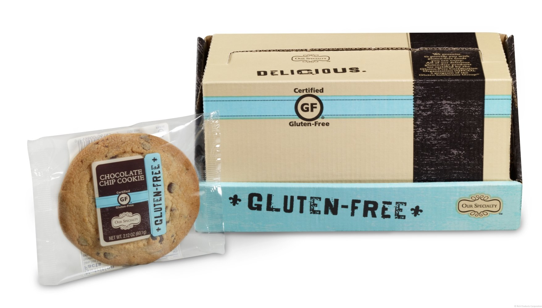 Our Specialty Gluten Free Chocolate Chip Cookies, Individually Wrapped, 12 Pack by Rich's Bakery