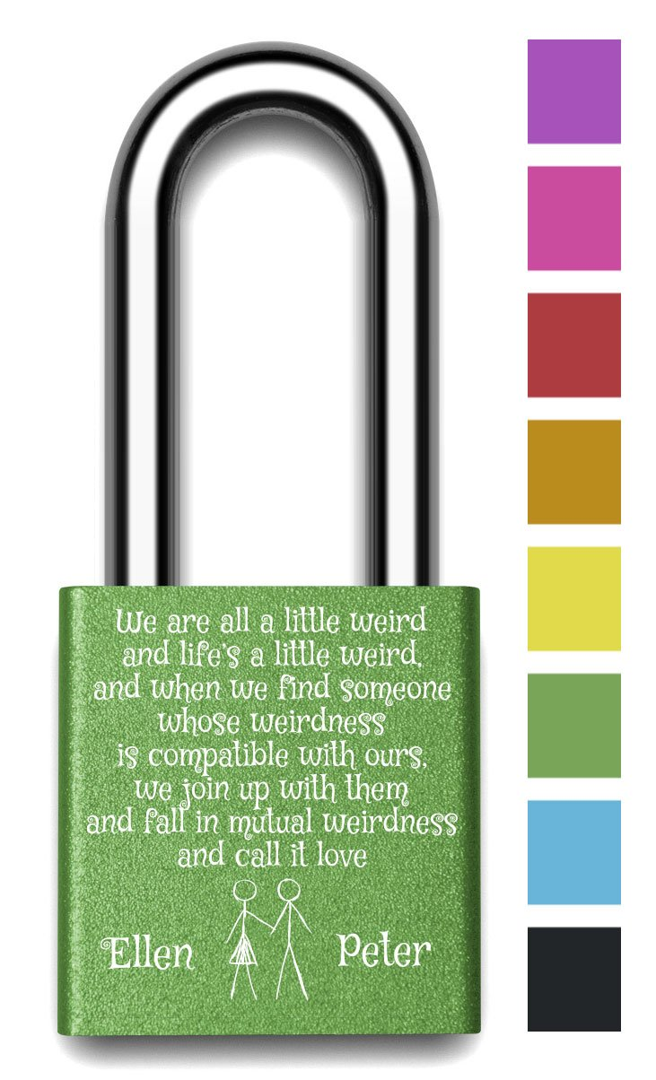 Customizable MakeLoveLocks - Mutual Weirdness Love Lock 2'' Green