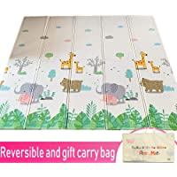 Infant Shining Baby Play Mat, Reversible Foldable Mat 2x1.8 M, Extra Large Waterproof and Antislip Rug Animal Forest
