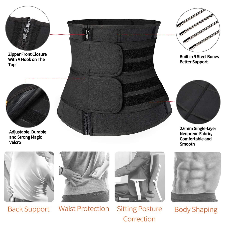 Weight Loss Back Support Neoprene Snug Fit Belly Belt Wide Men Workout Waist Trainer KIWI RATA Sauna Waist Trimmer Belt Sweat AB Belt with Adjustable Double Straps