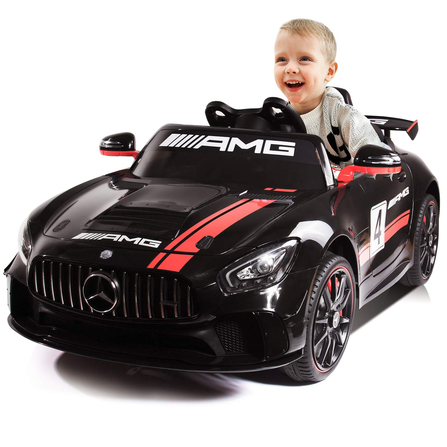 Kidsclub Electric Ride On Car with Remote Control for Kids, 12V Power Battery Official Licensed Kids Car with 2.4G Radio Parental Control Opening Doors(Black Mercedes Benz AMG GT4)