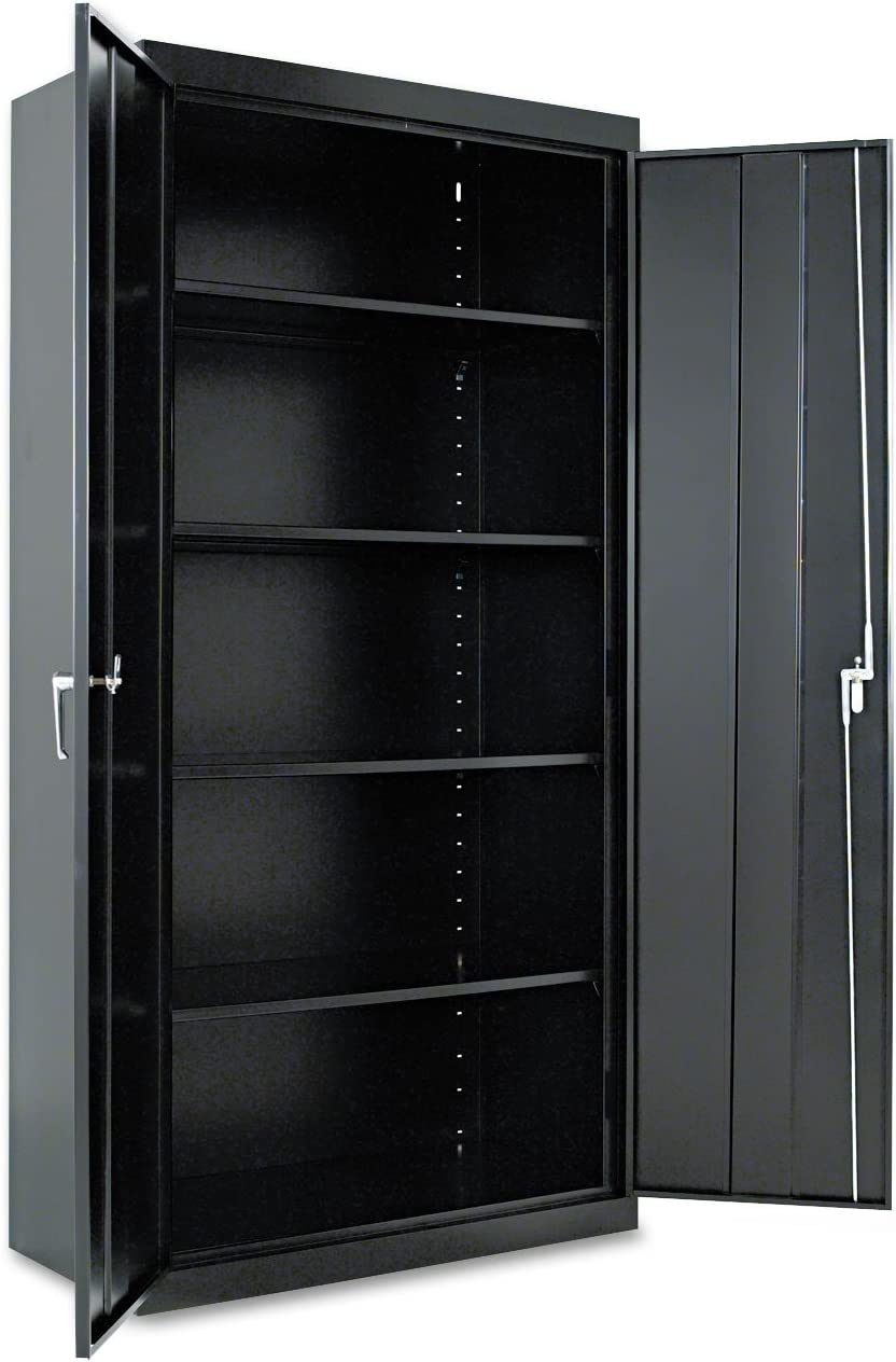 Alera CM7218BK Assembled 72-Inch High Storage Cabinet, W/Adjustable Shelves, 36w X 18d, Black