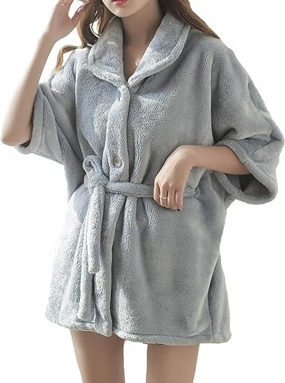f473bb545c1135 Anna King Flanell Kurzer Bademantel für Damen Wärme hochwertiger weicher  Flauschiger Morgenmantel elegant Flanell Nachtwäsche: Amazon.de: Bekleidung