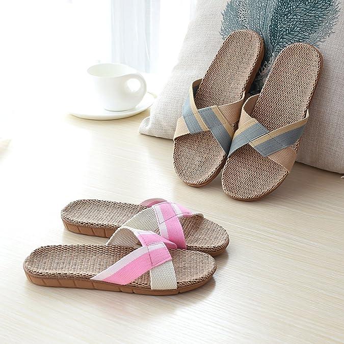 Yimidear Hombre y Mujer Parejas Zapatos Caseros de Interior Lino Pantuflas Antideslizantes (A, Púrpura)