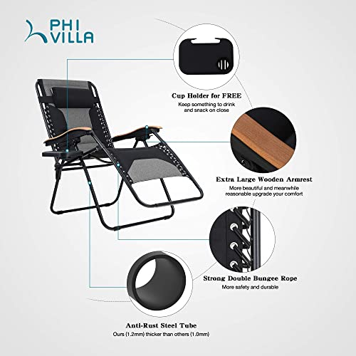 PHI VILLA Oversize XL Zero Gravity Recliner Padded Patio Lounger Chair